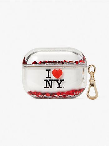 アイ ラブ ニューヨーク X ケイト スペード ニューヨーク リキッド グリッター エアポッズ pro ケース