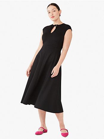 ポンチ タイ キーホール ネック ドレス