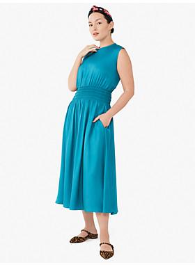 シルク ブレンド ツイル スモックト ウエスト ドレス