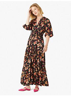 フローラル ブーケ シルク ツイル ドレス