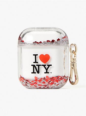 アイ ラブ ニューヨーク X ケイト スペード ニューヨーク リキッド グリッター エアポッズ ケース