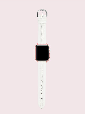 スカラップ ホワイト レザー アップル ウォッチ ストラップ