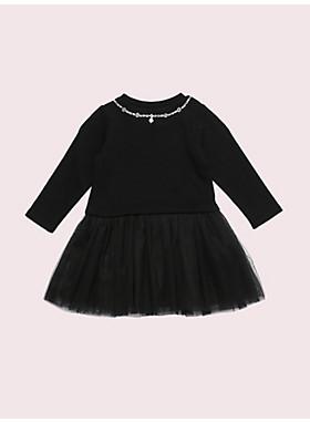 トドラー トロンプルイユ パール ネックレス ミックス メディア ドレス