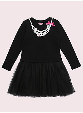 ガールズ トロンプルイユ パール ネックレス ミックス メディア ドレス