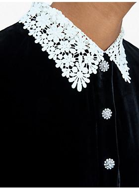 ベルベット ジュエル ボタン シャツドレス