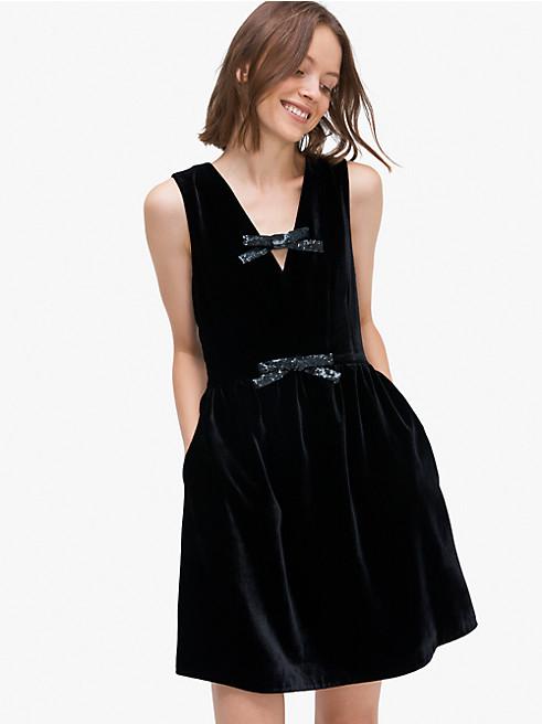 シークイン ボウ ベルベット ドレス