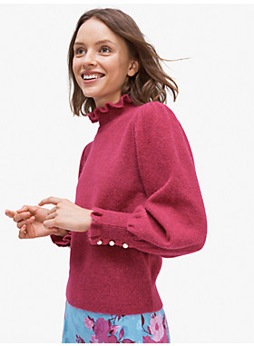 パール ボタン カフ セーター