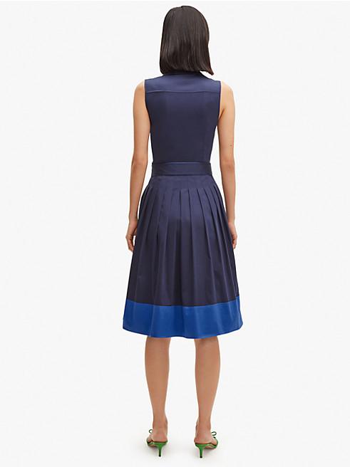 メインライン ポプリン カラーブロック シャツドレス