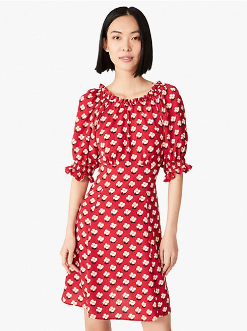 メインライン ブロック フラワー フルイド ドレス