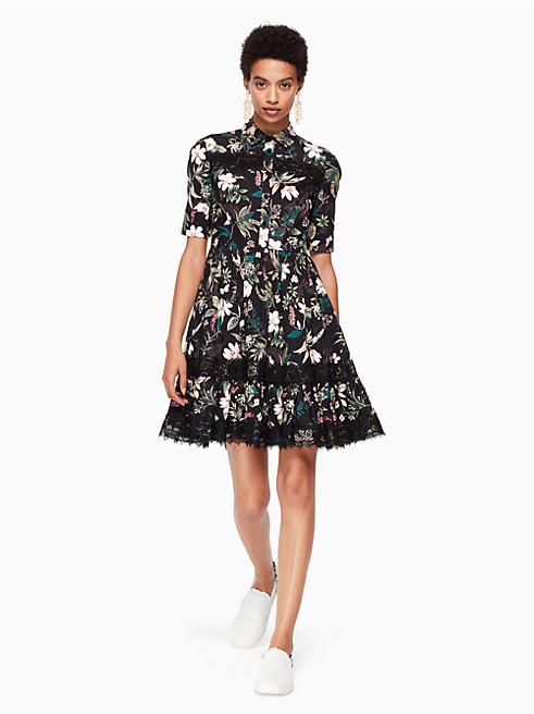 スワンプ ボタニカル ポプリン ドレス