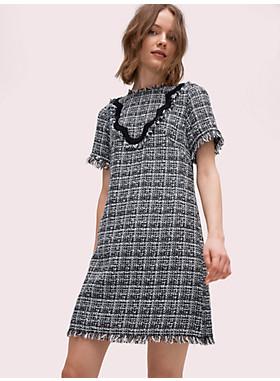 バイカラー スカラップ ツイード ドレス
