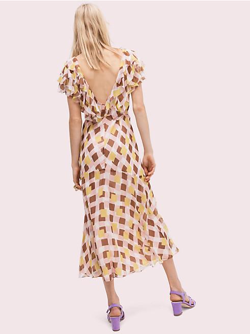 ジオ スクエア シルク ドレス