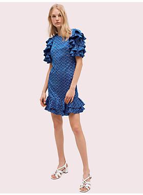 ジオ ドット サテン シフト ドレス