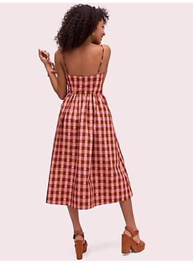 ギンガム スペード タイ フロント ドレス