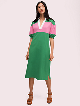 ストライプ ポロ ニット ドレス