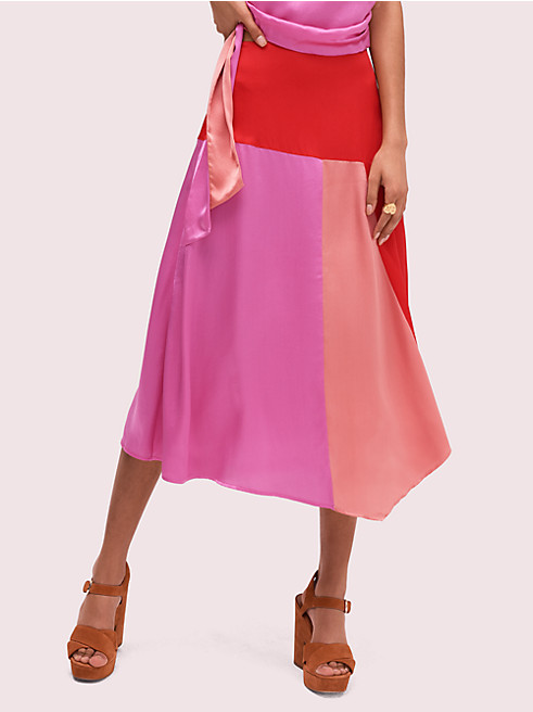 カラーブロック フルイド スカート