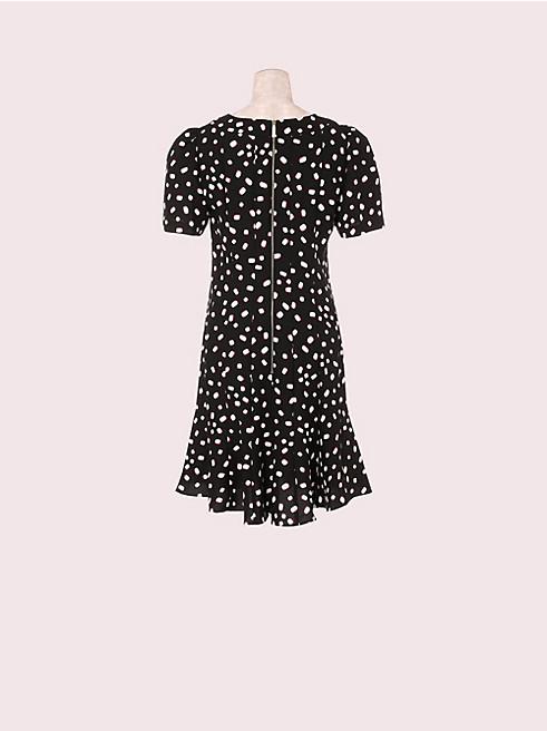 マロー ドット クレープ ドレス