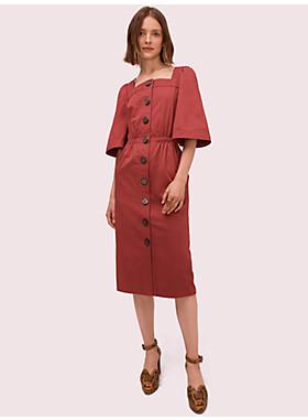 ボタン フロント サティーン ドレス