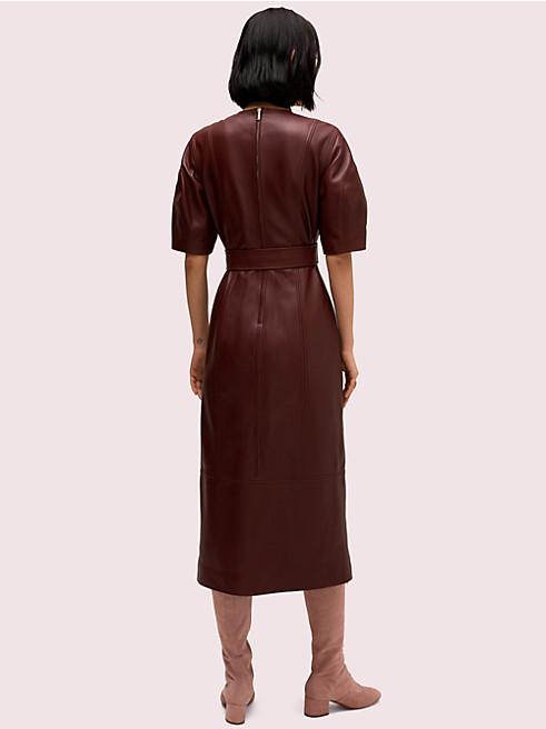 レザー タイ ウエスト ドレス