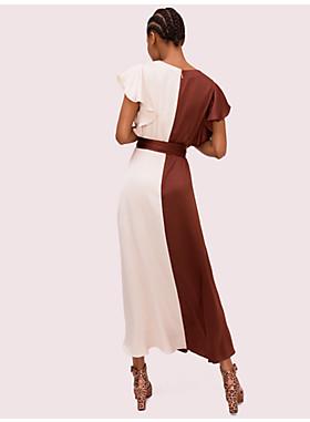 サテン カラーブロック ドレス