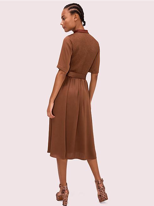 サテン スモック バック シャツドレス