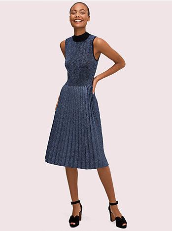 メタリック プリーツ セーター ドレス