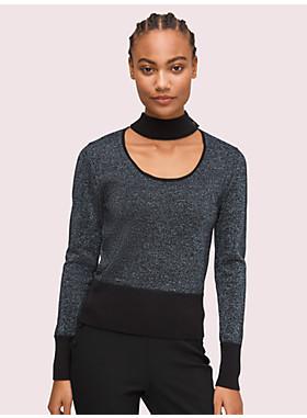 メタリック スクープネック セーター
