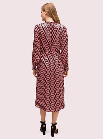 スペード フラワー ラッフル シャツドレス