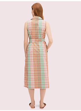 レインボープラッドシャツドレス