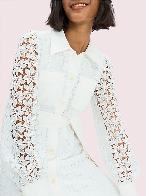 リーフレースドレスシャツドレス