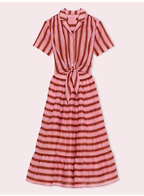 カレー ストライプ シャツドレス