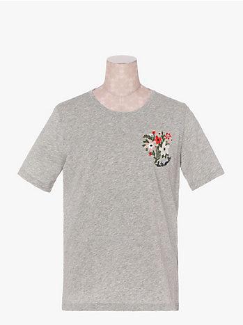 カジュアル エンブロイダード ブーケ Tシャツ