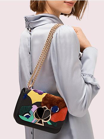 二コラ ビーズ インターシャ ツイストロック スモール コンバーチブル チェーン ショルダー バッグ